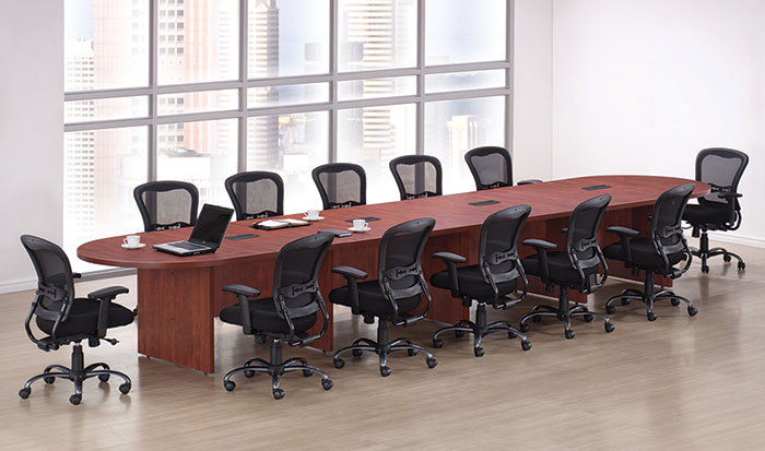 Racetrack Conference Table With Slab Base PL Palmetto - Expandable conference room table